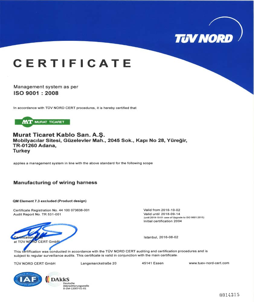 ADANA ISO-9001 CERTIFICATE