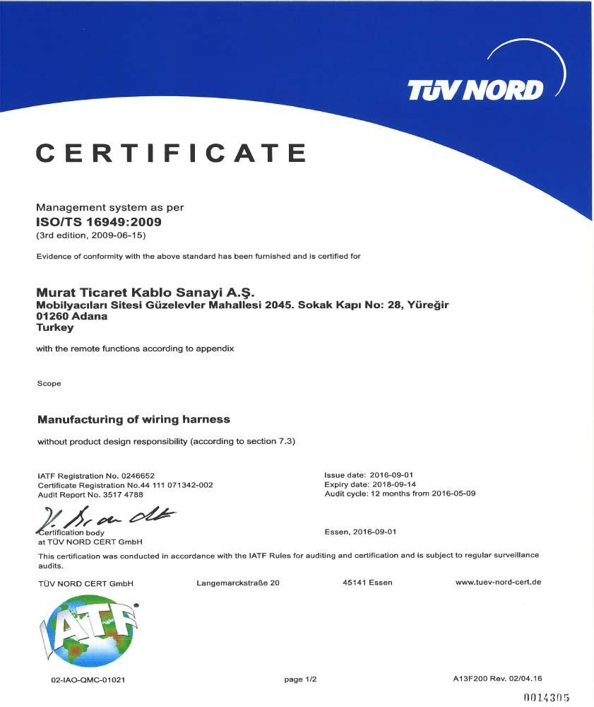 ADANA ISO/TS-16949 CERTIFICATE