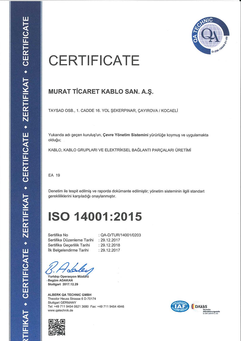 GEBZE ISO-14001 CERTIFICATE