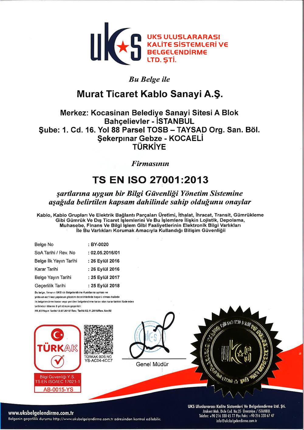 GEBZE ISO-27001 CERTIFICATE
