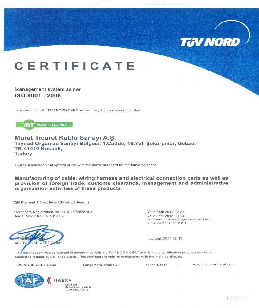 GEBZE ISO-9001 CERTIFICATE