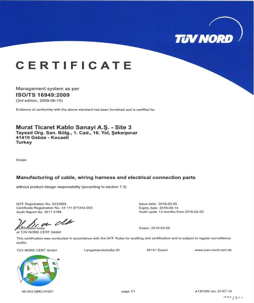 GEBZE ISO/TS-16949 CERTIFICATE