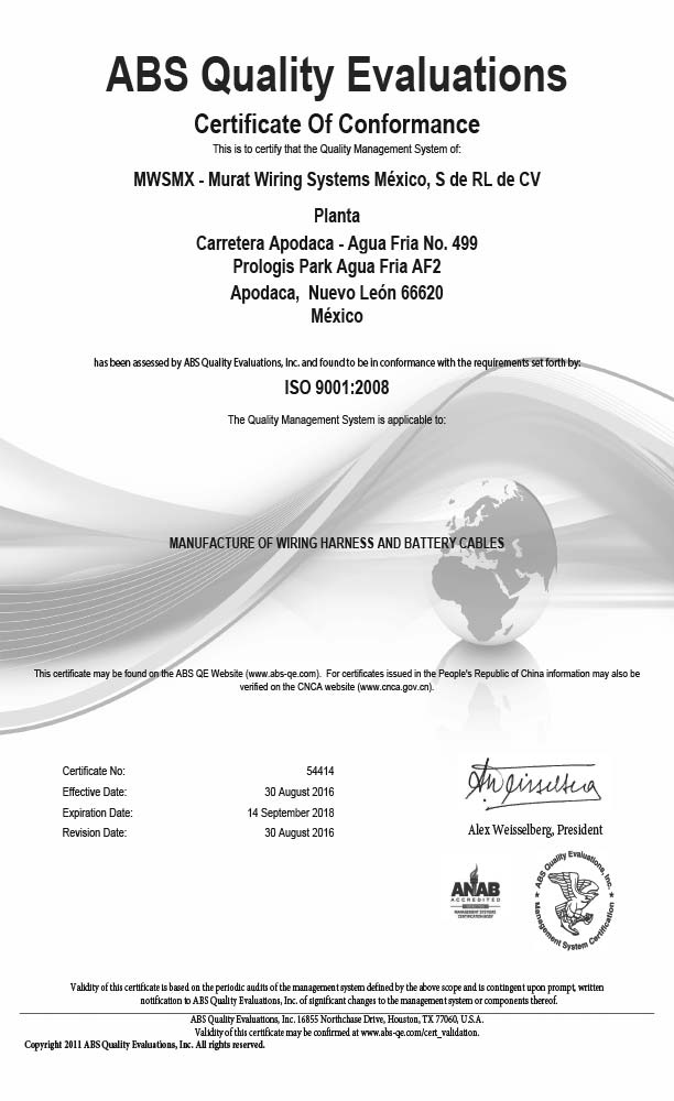 MEXICO ISO-9001 CERTIFICATE