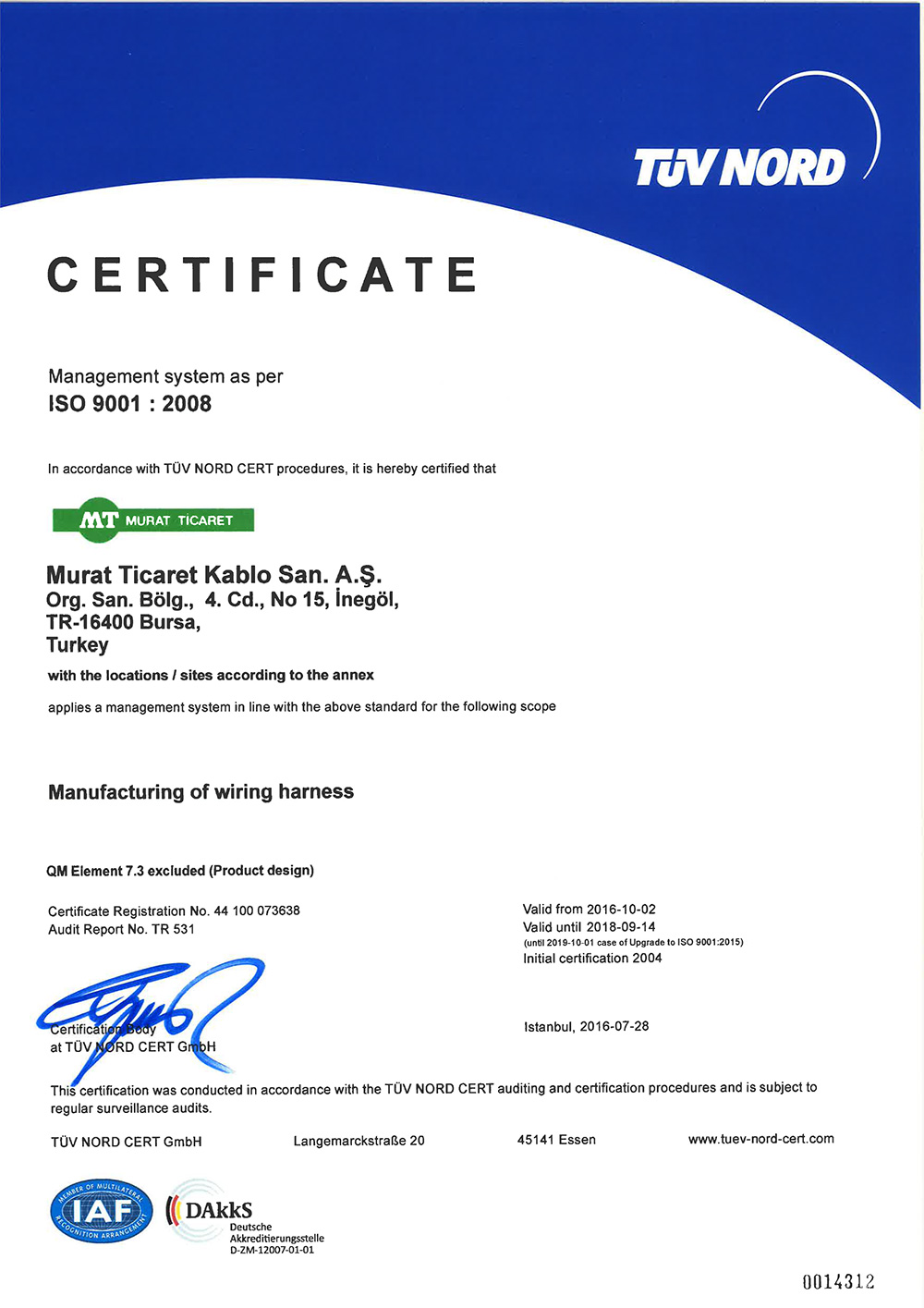İNEGÖL ISO-9001 CERTIFICATE