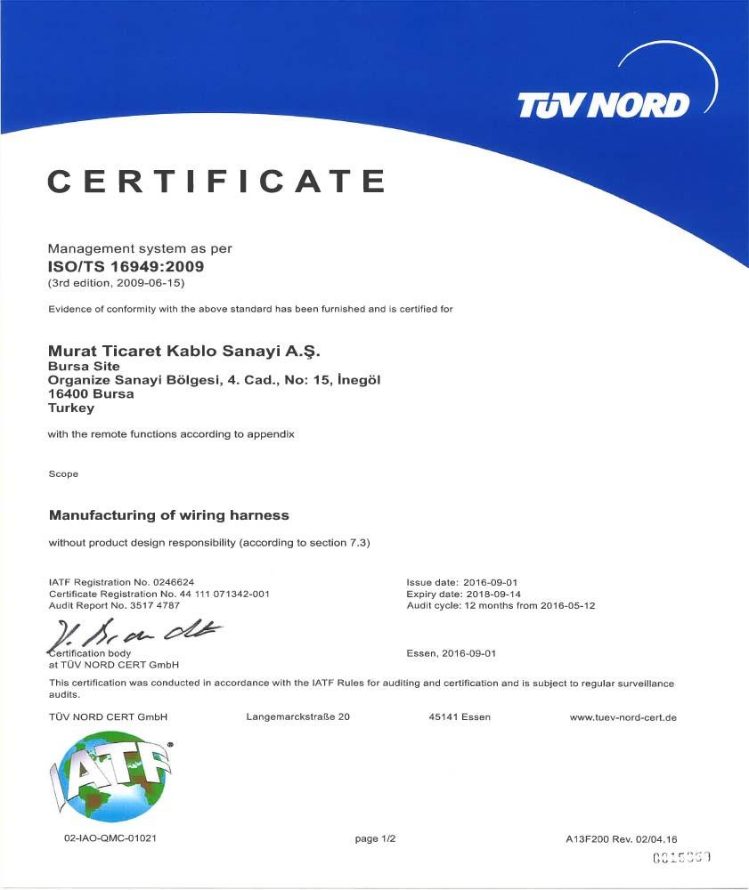 İNEGÖL ISO/TS-16949 CERTIFICATE