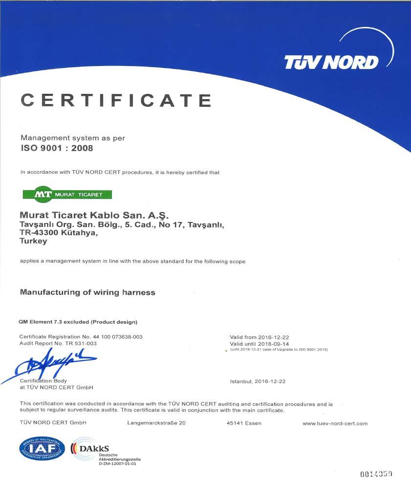 TAVŞANLI ISO-9001 CERTIFICATE