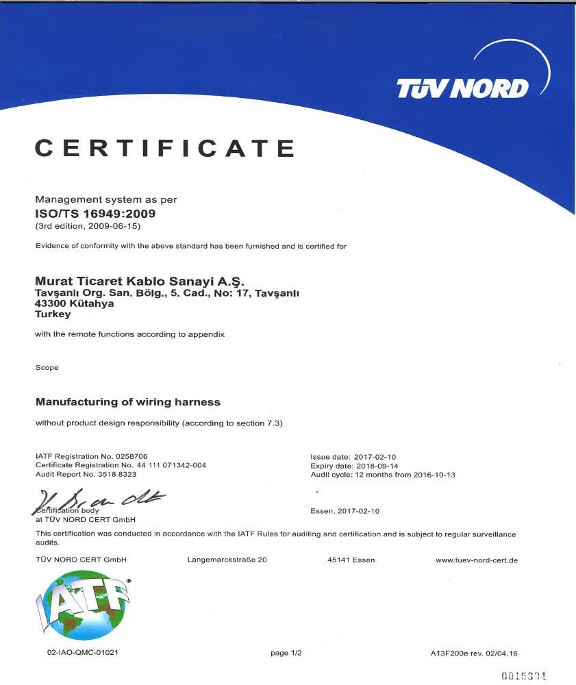 TAVŞANLI  ISO/TS-16949 CERTIFICATE