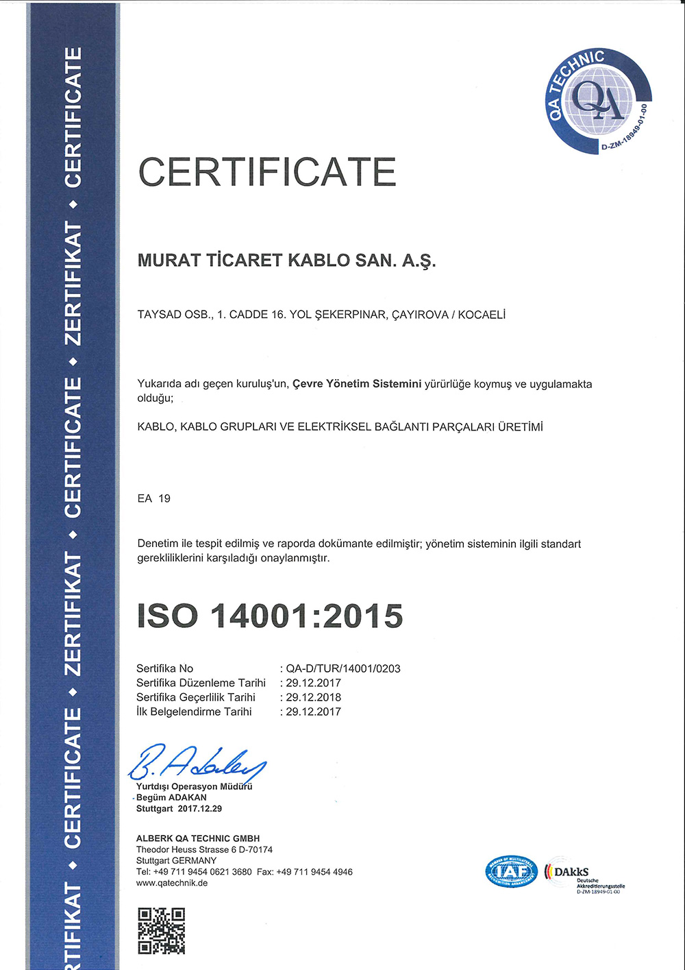 Quality Certifications Murat Ticaret